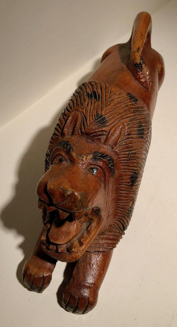American Folk Art Hand-Carved & Painted Wood Lion - 4