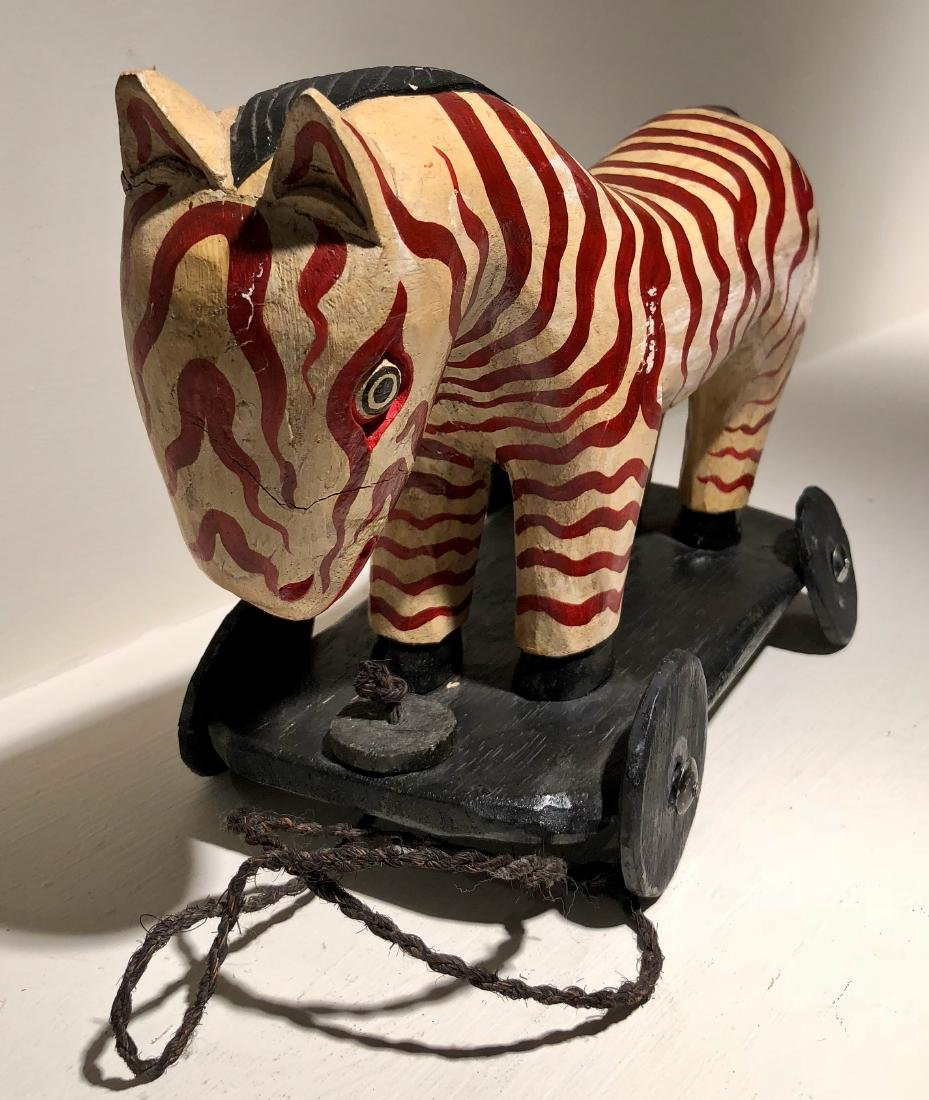 American Folk Art Hand-Carved & Painted ZEBRA PULL TOY - 3