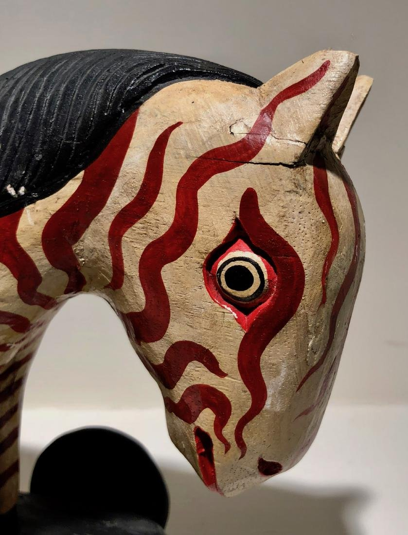 American Folk Art Hand-Carved & Painted ZEBRA PULL TOY - 5