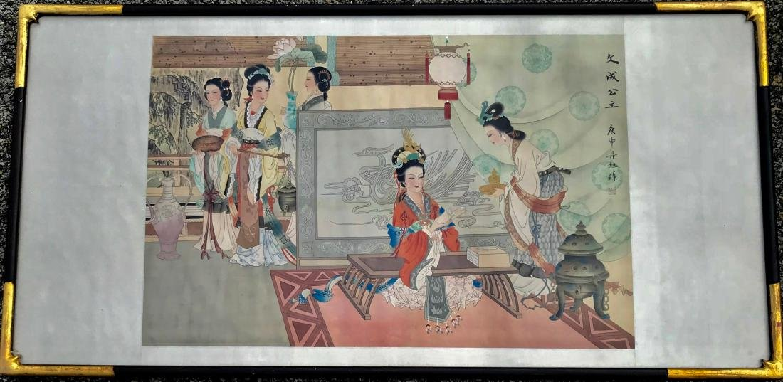 Chinese Silk Scroll Painting PALACE INTERIOR, Signed