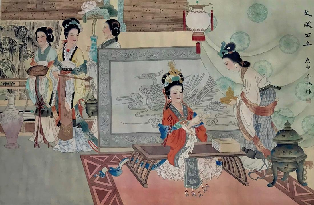 Chinese Silk Scroll Painting PALACE INTERIOR, Signed - 2