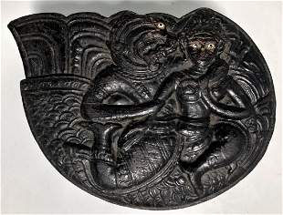 Antique Burmese Carved Lacquer Deity Covered Box