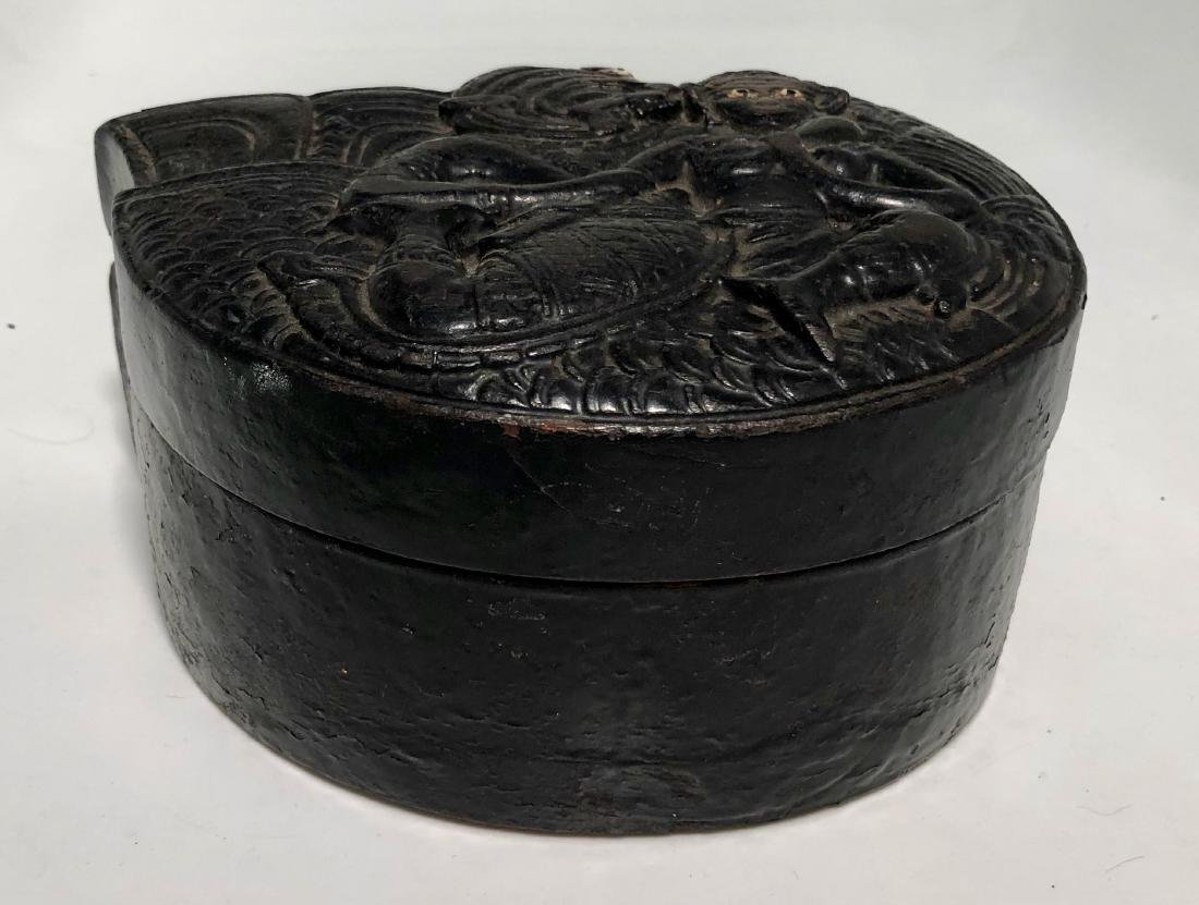 Antique Burmese Carved Lacquer Deity Covered Box - 2