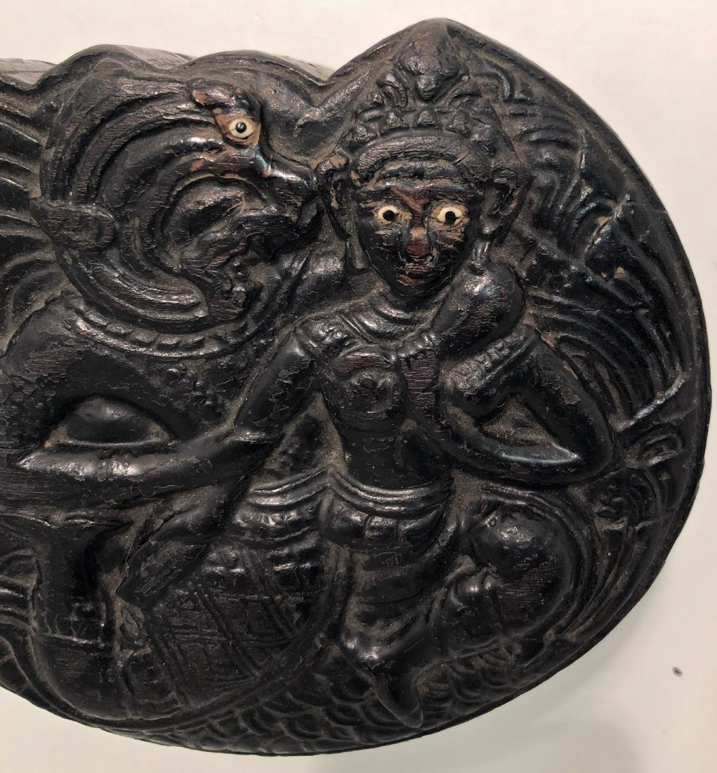 Antique Burmese Carved Lacquer Deity Covered Box - 5