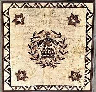 Polynesian Tapa Cloth Painting W Christian Symbolism