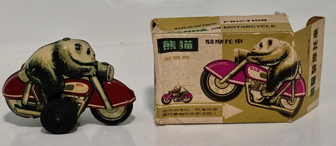 Panda Bear On Motorcycle, Tin Toy With Box, 1960s