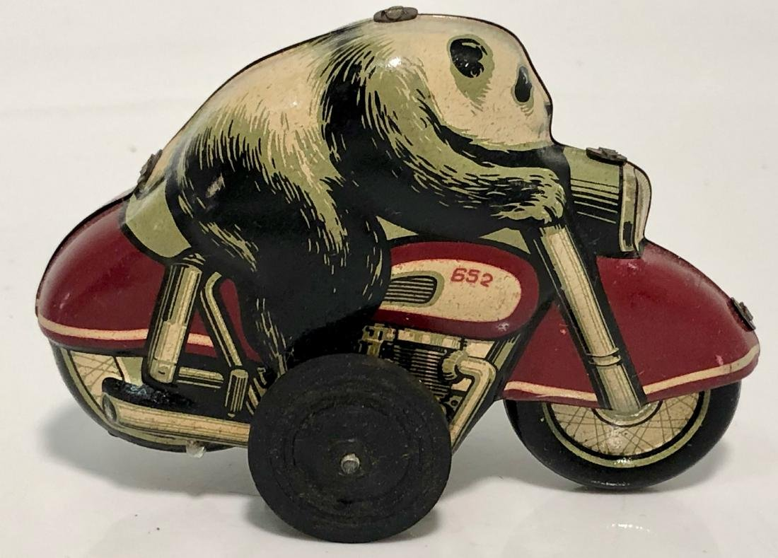Panda Bear On Motorcycle, Tin Toy With Box, 1960s - 2