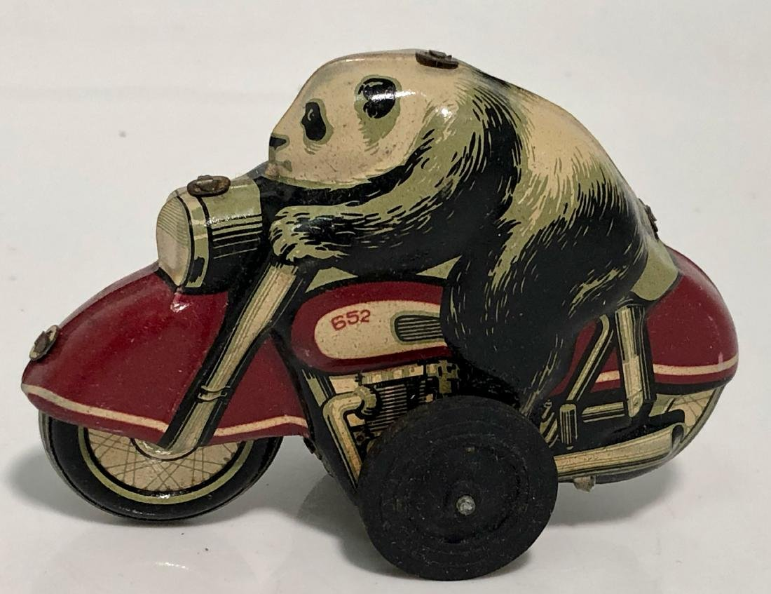 Panda Bear On Motorcycle, Tin Toy With Box, 1960s - 3