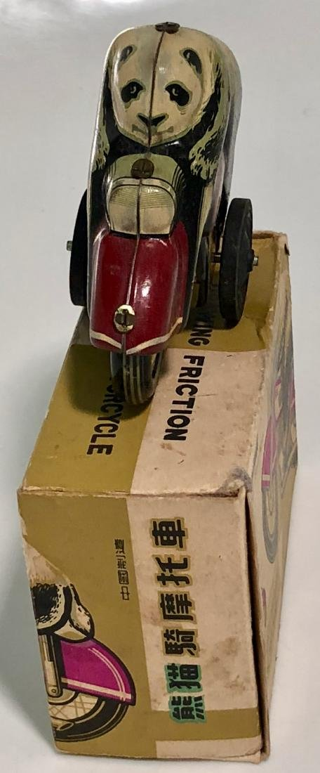 Panda Bear On Motorcycle, Tin Toy With Box, 1960s - 4