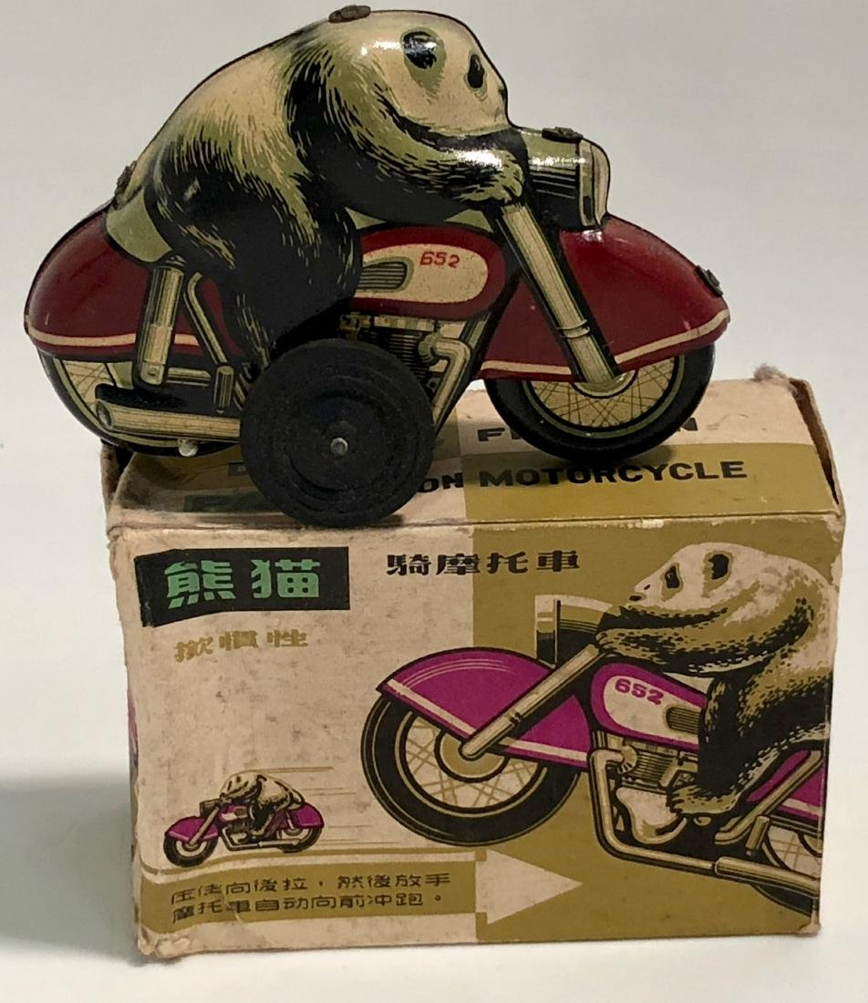Panda Bear On Motorcycle, Tin Toy With Box, 1960s - 5