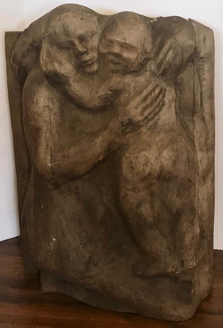 """American Folk Art Carving """"THE EMBRACE""""  21 in. H."""