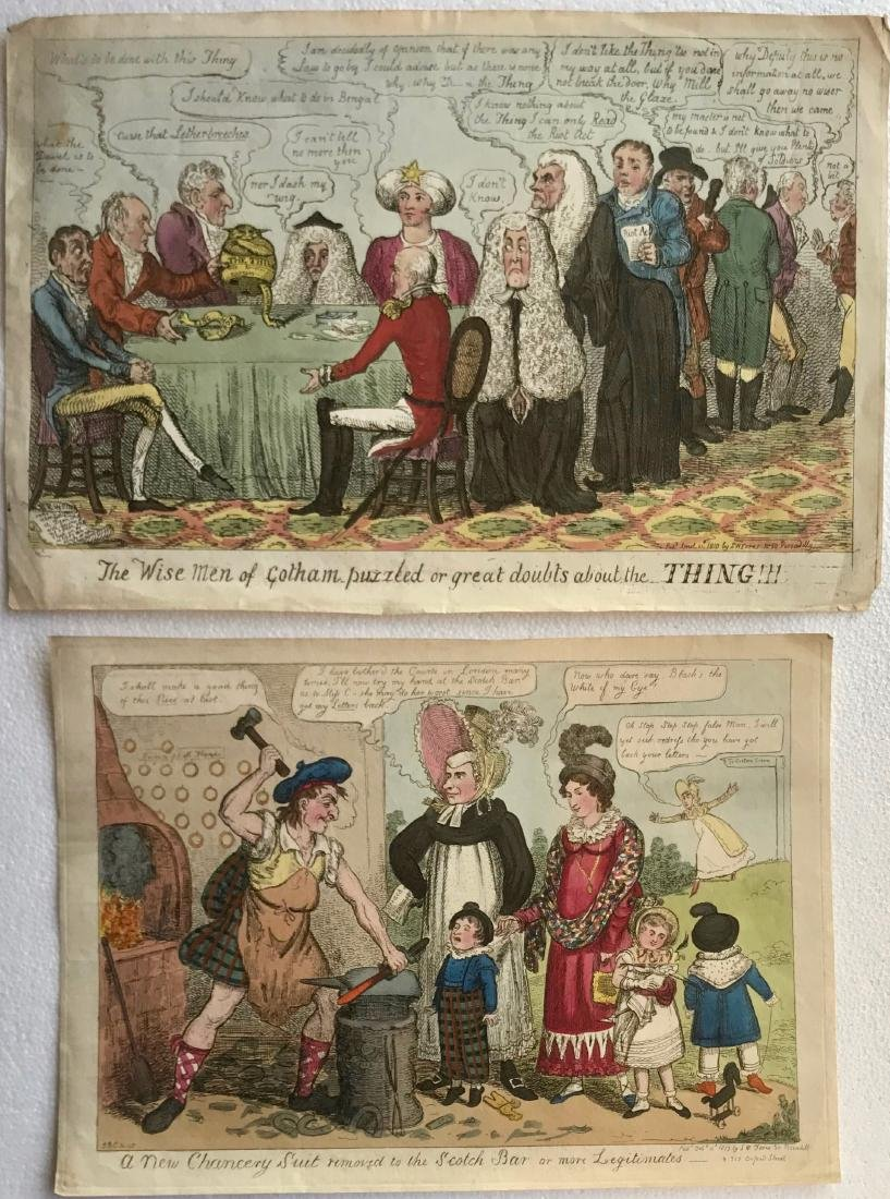 19th Century Hand-Colored Etchings CRUIKSHANK