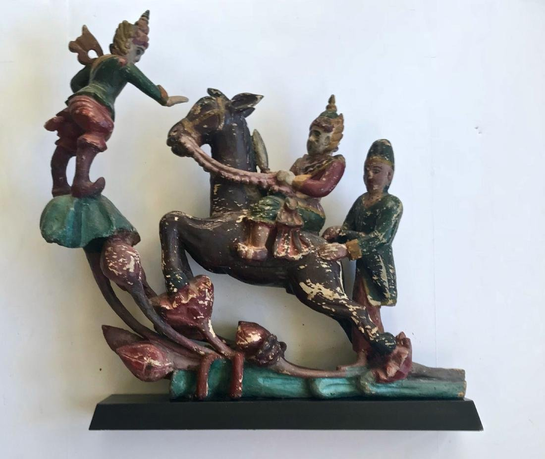 Burmese Carved & Painted Wood Warrior Sculpture