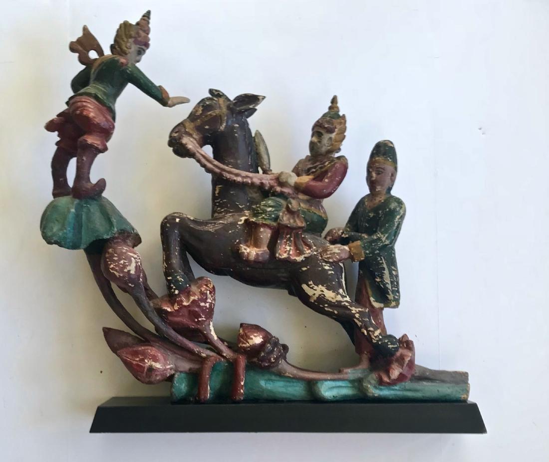 Burmese Carved & Painted Wood Warrior Sculpture