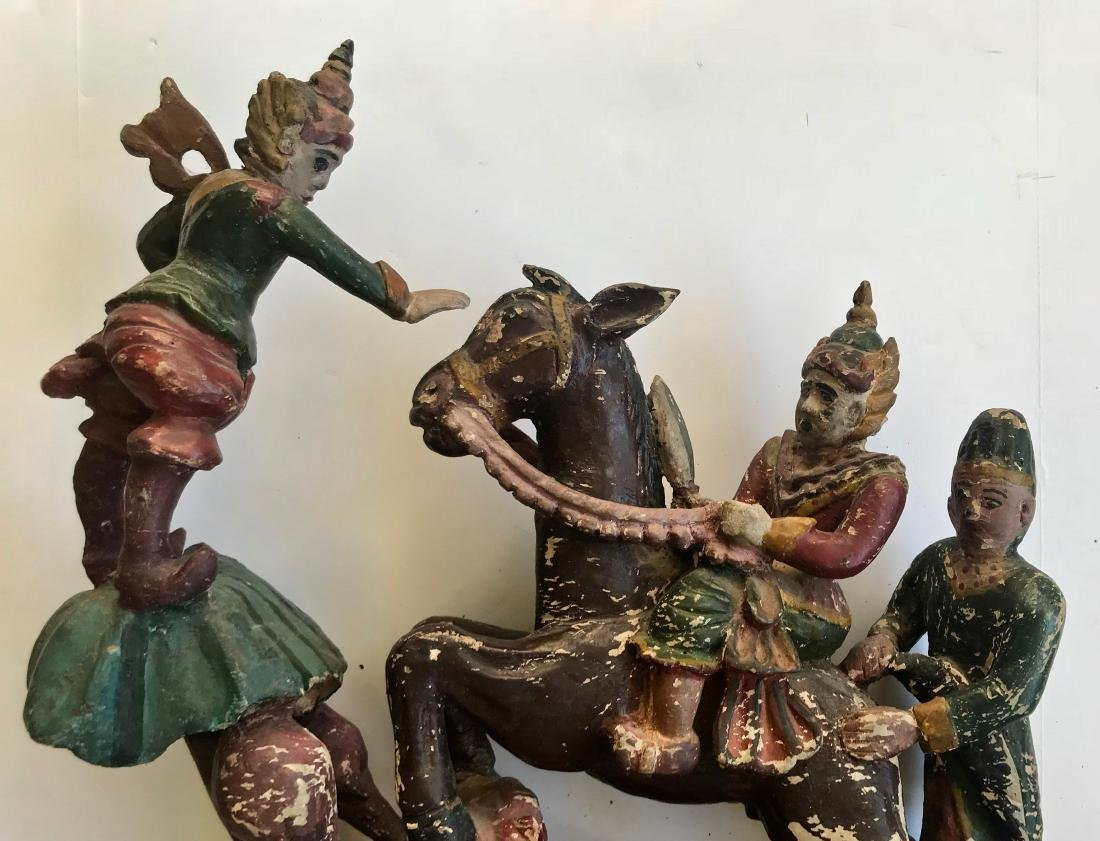 Burmese Carved & Painted Wood Warrior Sculpture - 3