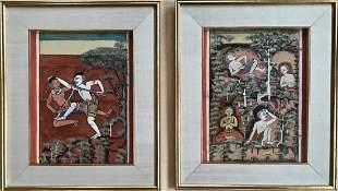 Buddhist Thai Illuminated Manuscript Painting W Script