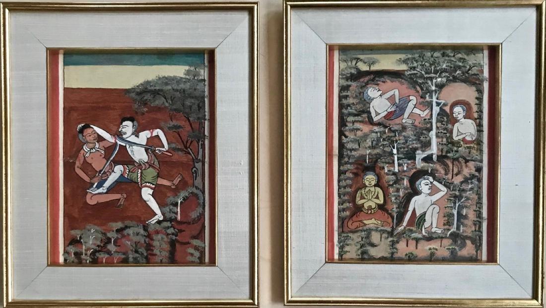 Buddhist Thai Illuminated Manuscript Painting W/ Script