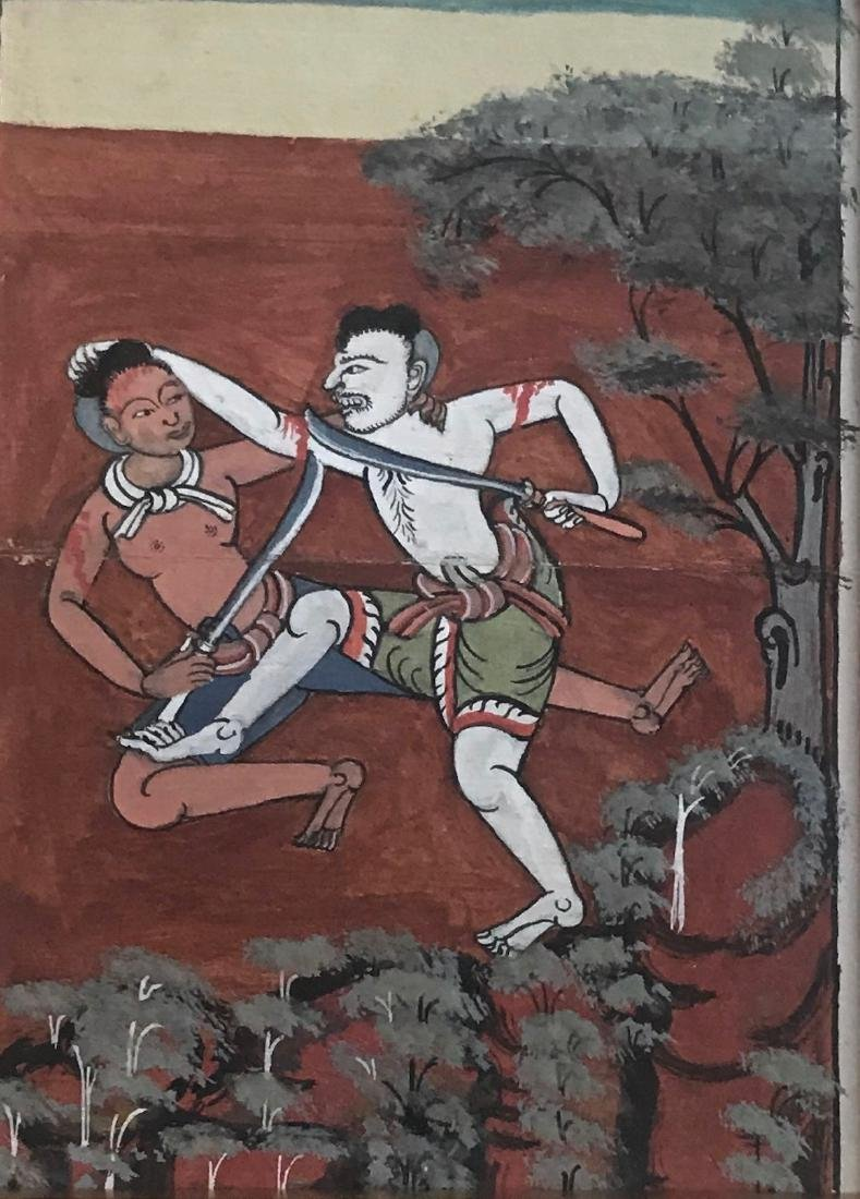 Buddhist Thai Illuminated Manuscript Painting W/ Script - 4