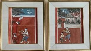 Two Buddhist Manuscript Paintings W Script