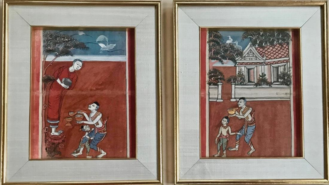 Two Buddhist Manuscript Paintings W/ Script