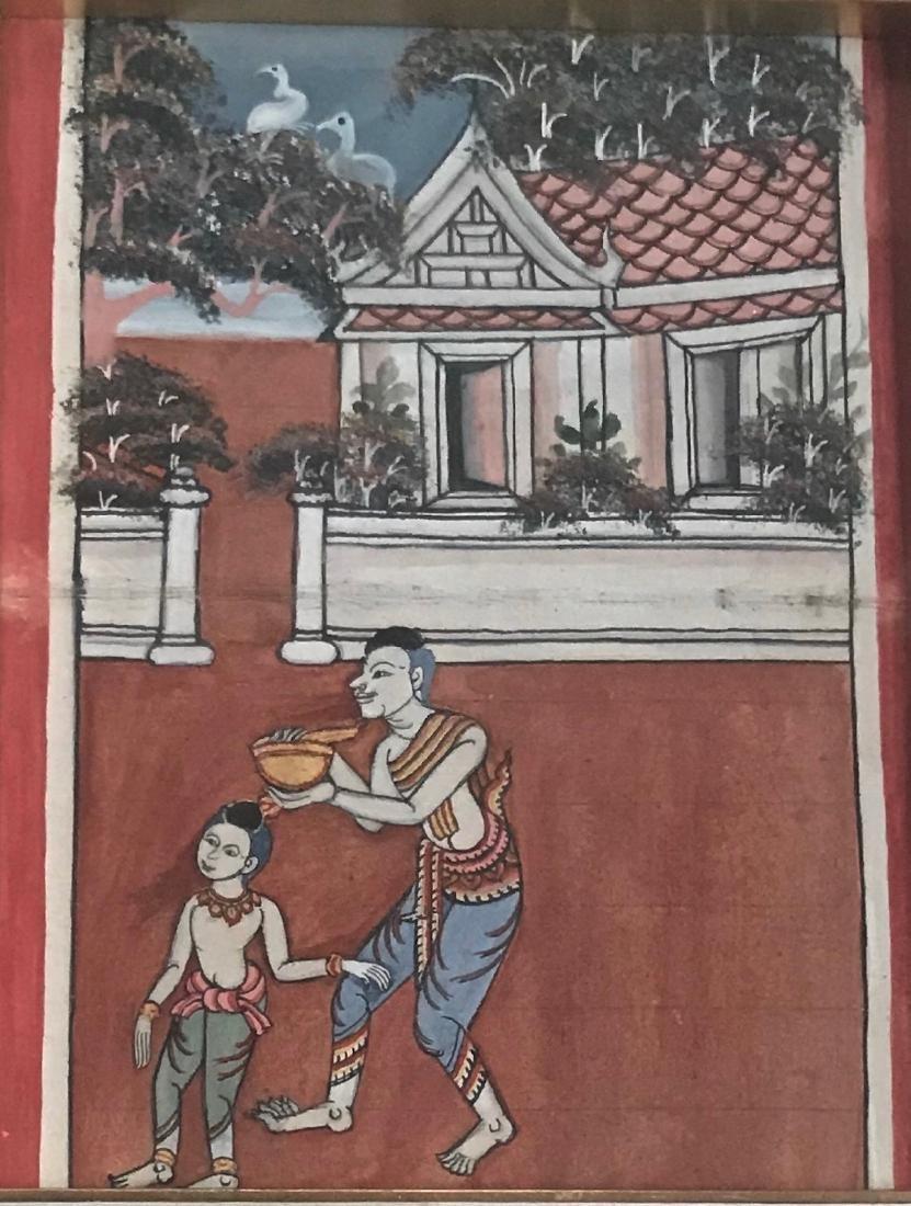 Two Buddhist Manuscript Paintings W/ Script - 3