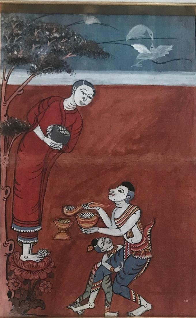 Two Buddhist Manuscript Paintings W/ Script - 4