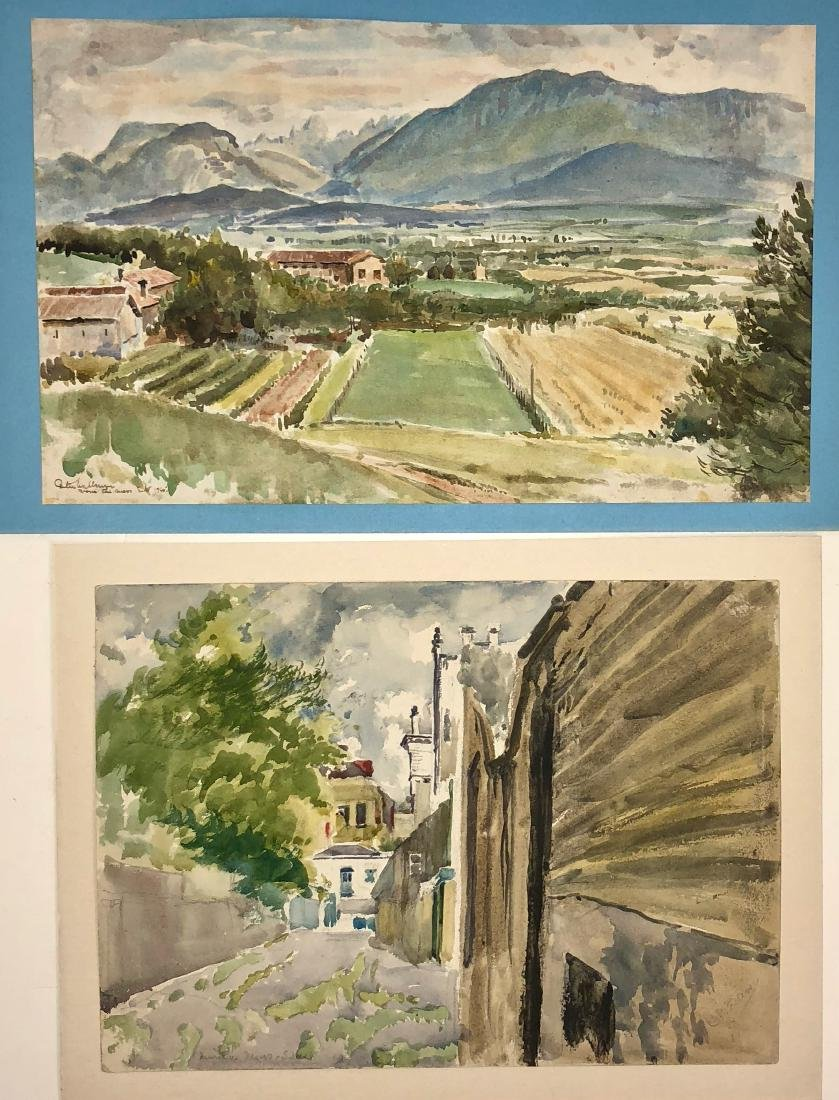Two European Watercolor Landscape Views Signed