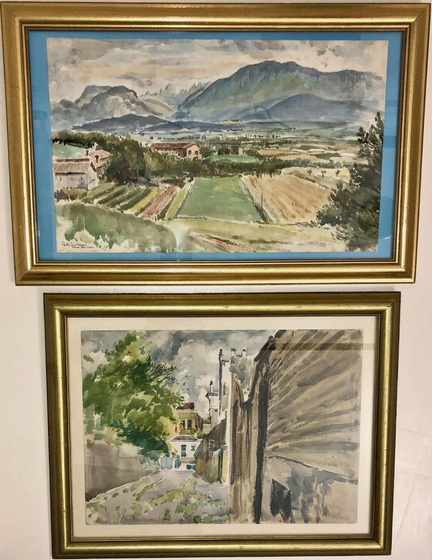 Two European Watercolor Landscape Views Signed - 7