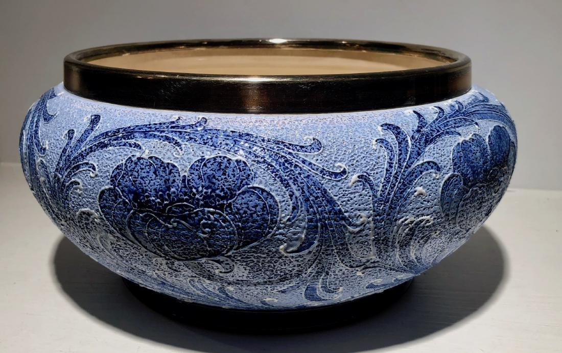 Moorcroft Macintyre Fruit Bowl With Silver Plate Rim