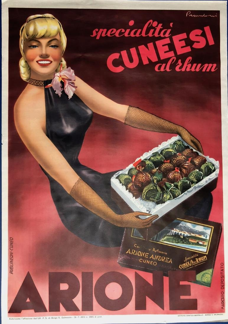 Chocolate Arione Cuneesi Advertisement Poster 1951