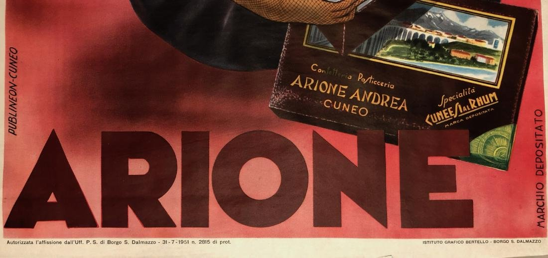 Chocolate Arione Cuneesi Advertisement Poster 1951 - 2