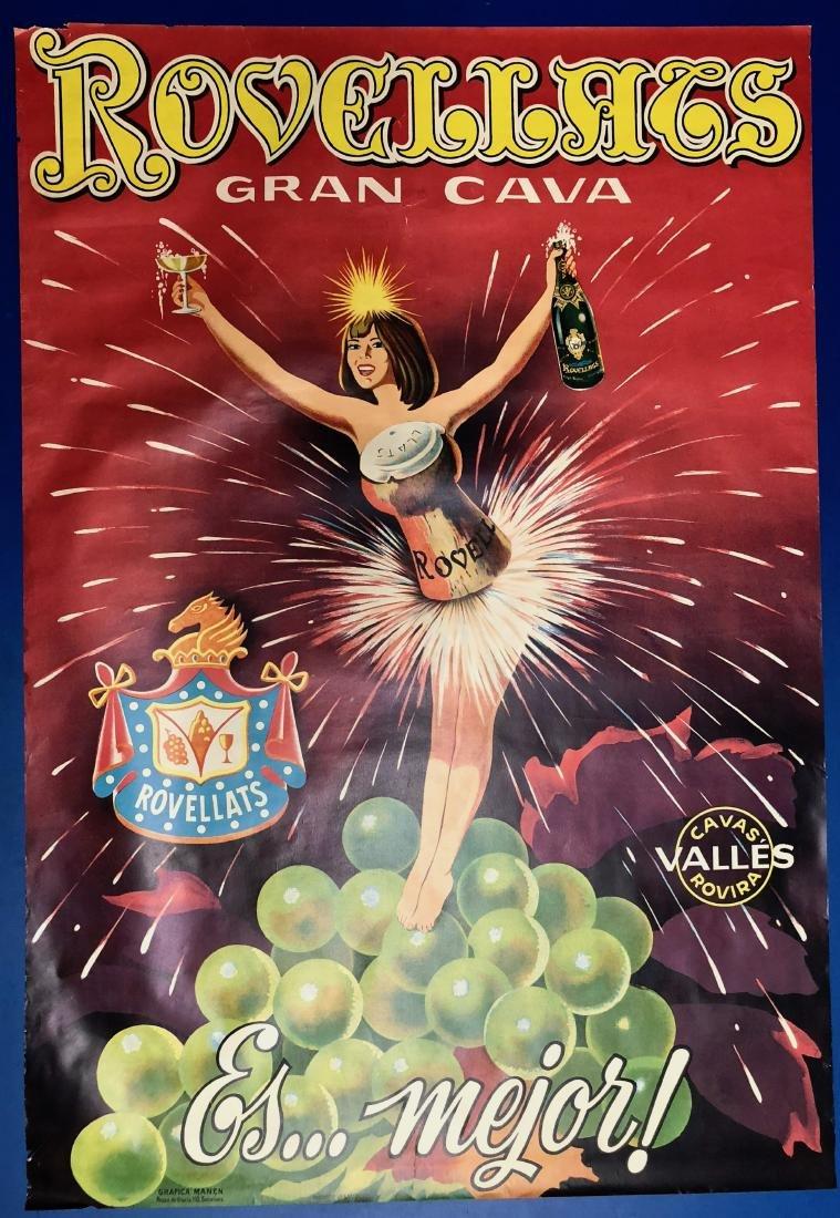 Rovellats Gran Cava Original Liquor Poster 1955