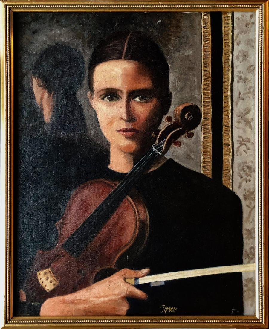 Lady With Violin Oil Painting, Moreo 1950s
