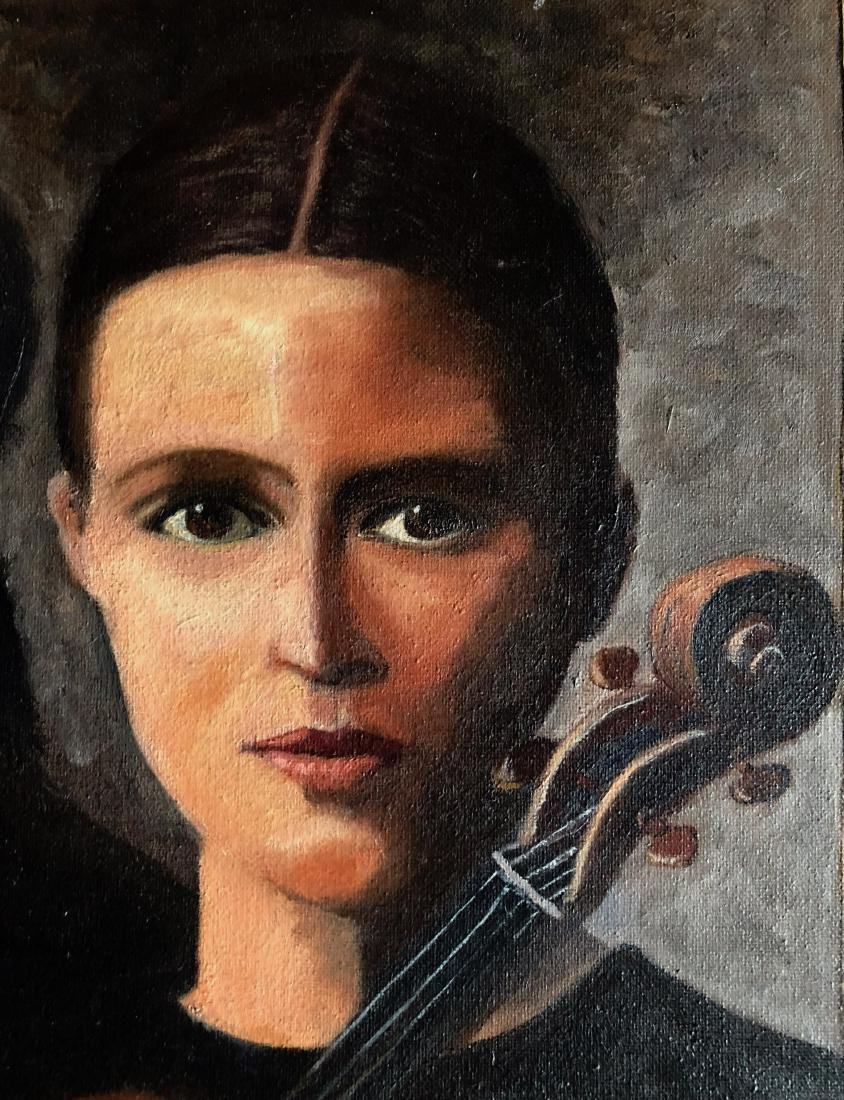 Lady With Violin Oil Painting, Moreo 1950s - 3