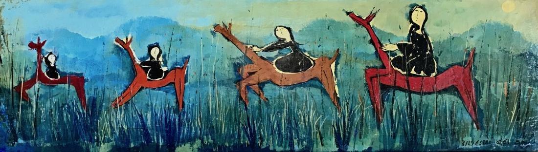 Mid-Century Enamel On Panel Painting, Silvestri 1963
