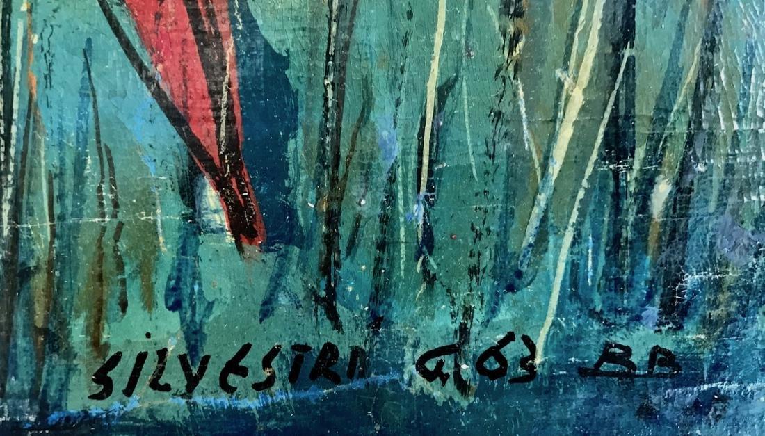 Mid-Century Enamel On Panel Painting, Silvestri 1963 - 2