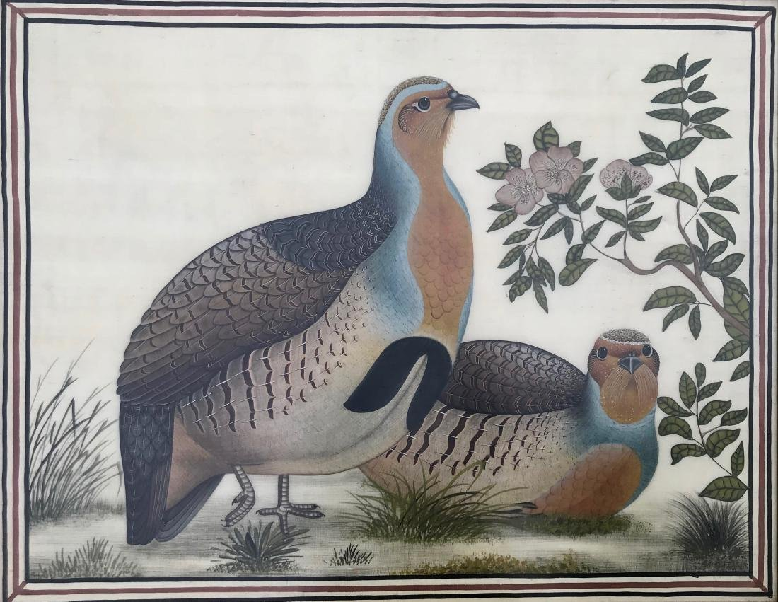Silk Painting Of Quails In A Floral Landscape - 2