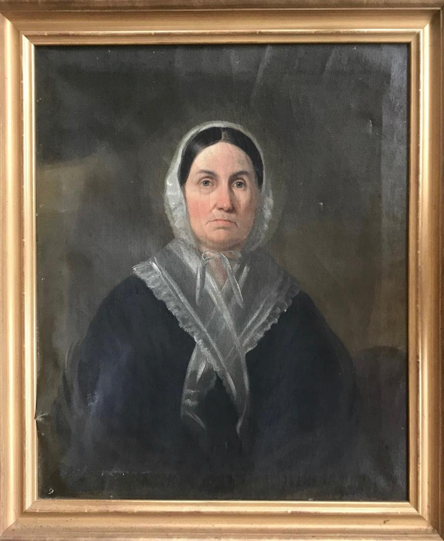 American Colonial Portrait Painting WOMAN WITH BONNET