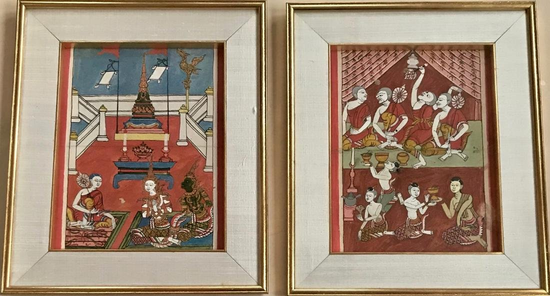 Buddhist Manuscript Page With Miniature Paintings