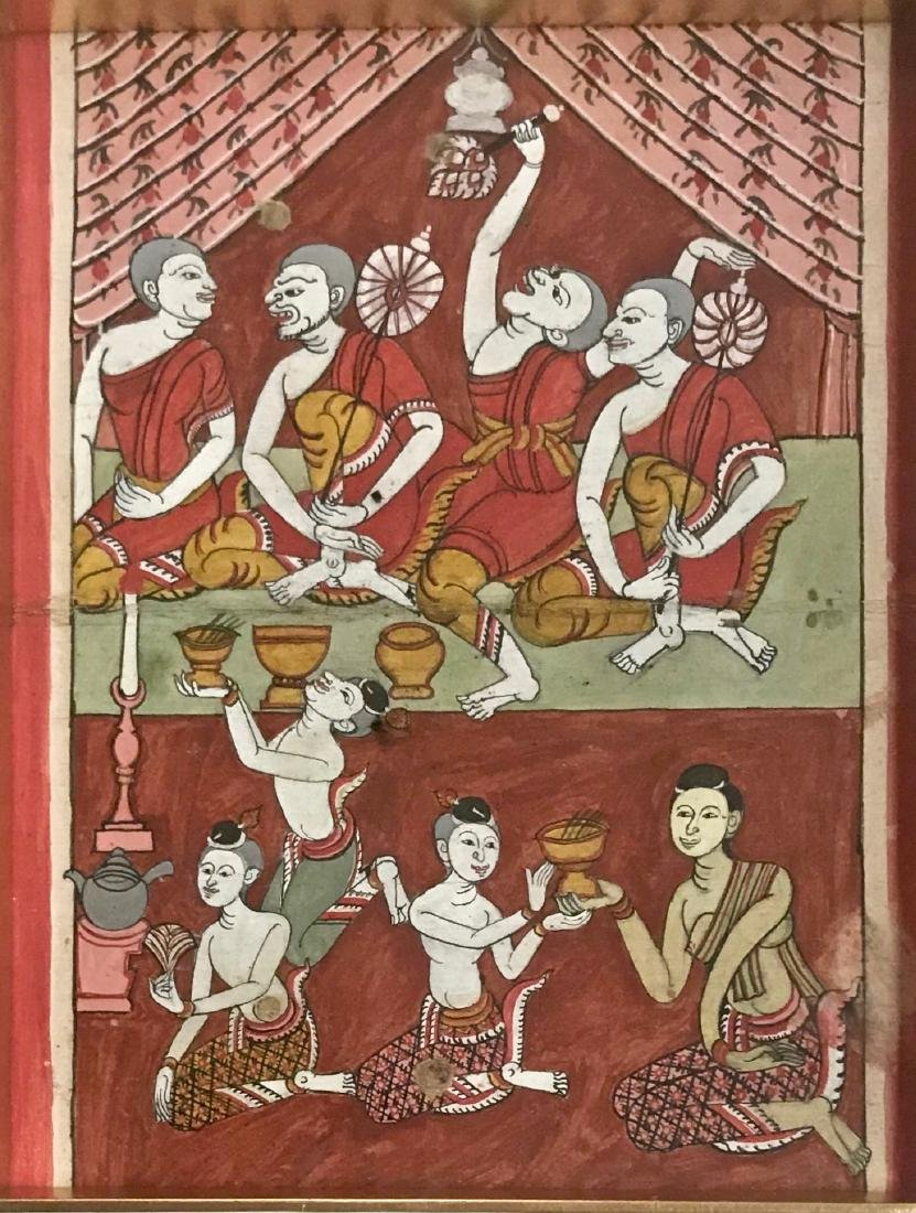 Buddhist Manuscript Page With Miniature Paintings - 3