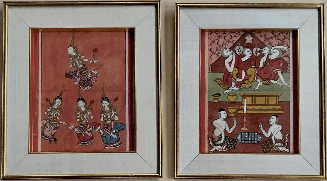 Phra Malai Manuscript Page With Miniature Paintings