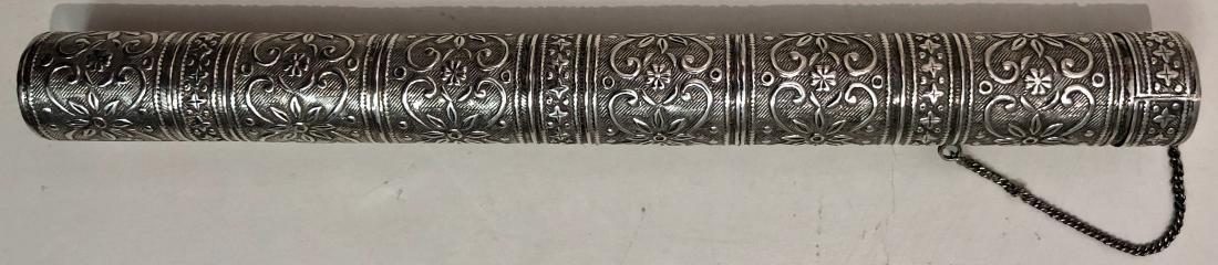 Art Nouveau Sterling Silver Engraved Cigar Case Holder