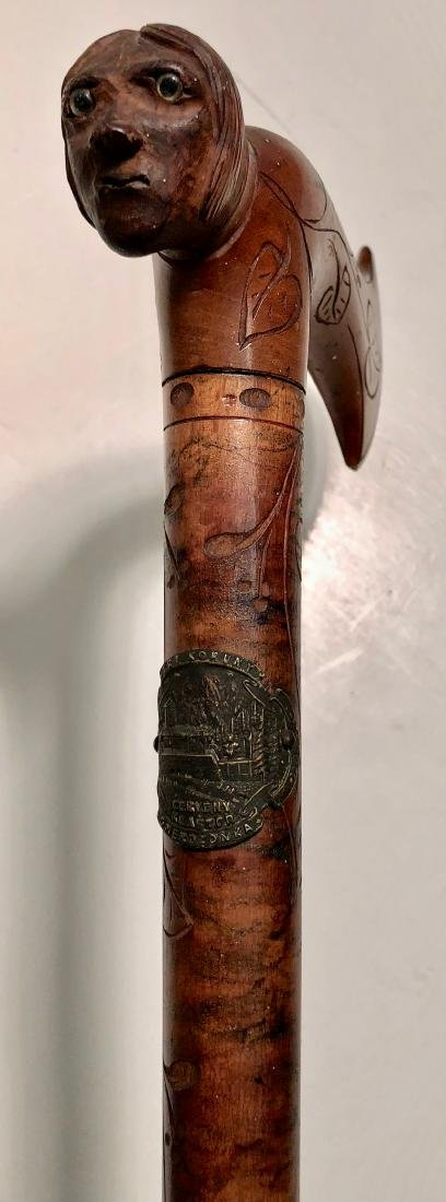 Antique Folk Art Carved Cane W/ Human Head Handle