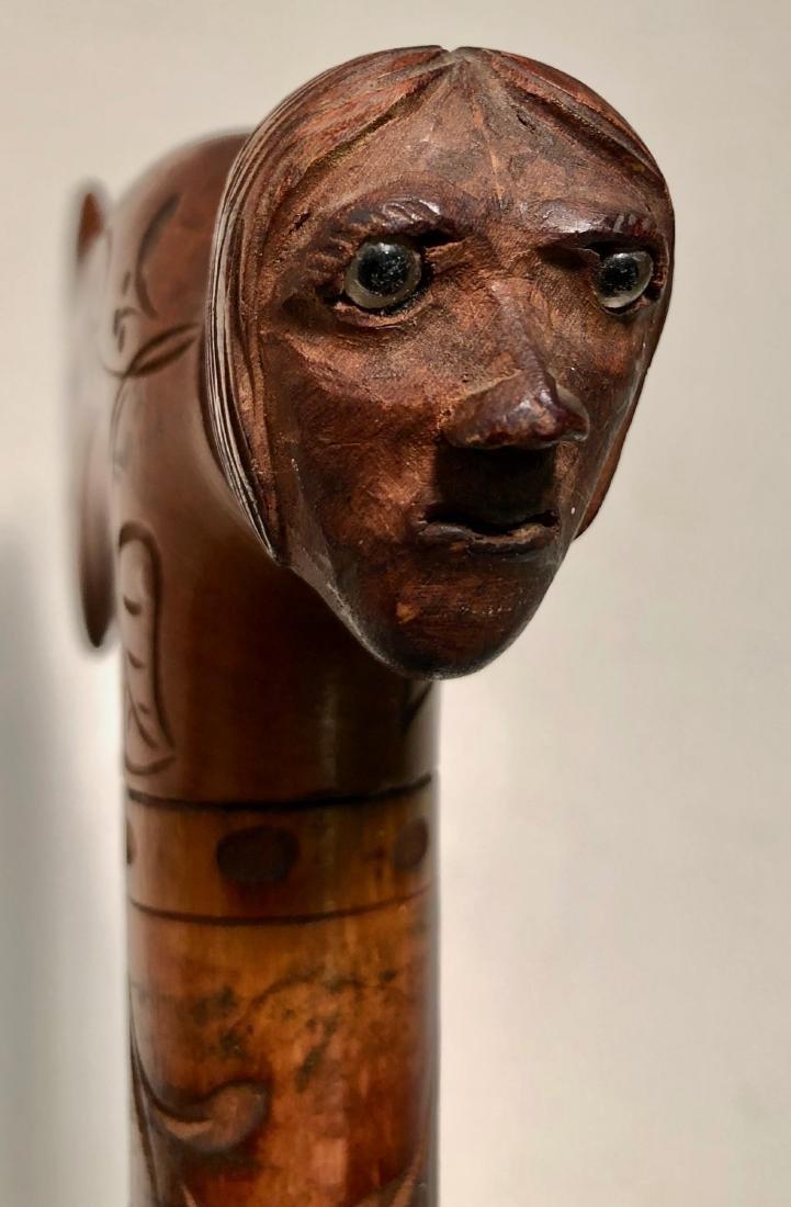 Antique Folk Art Carved Cane W/ Human Head Handle - 2