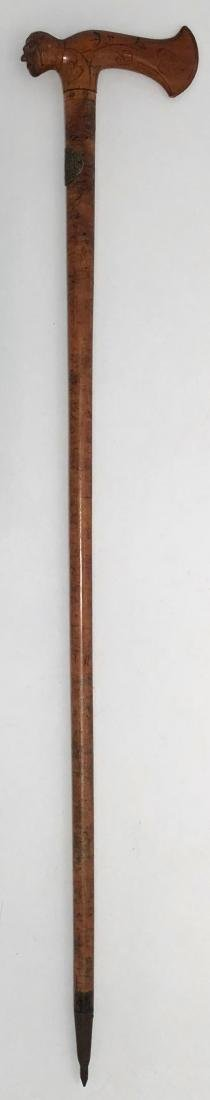 Antique Folk Art Carved Cane W/ Human Head Handle - 3