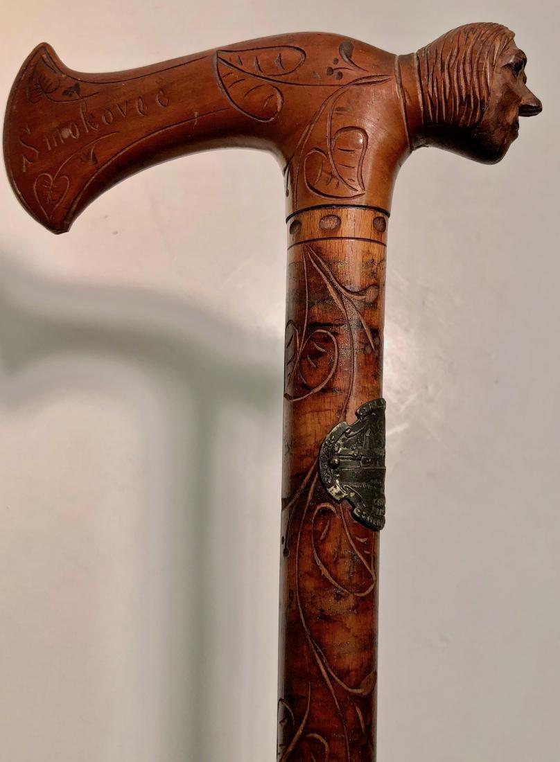 Antique Folk Art Carved Cane W/ Human Head Handle - 7