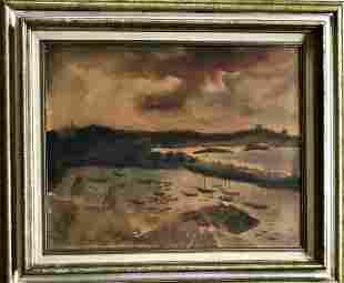 River Landscape With Figures Bernard Klonis 1940s