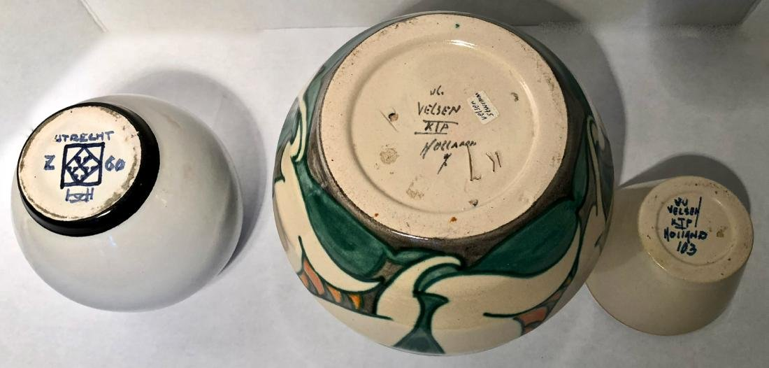 Three Dutch Studio Art Pottery Vases, Holland 1930s - 2