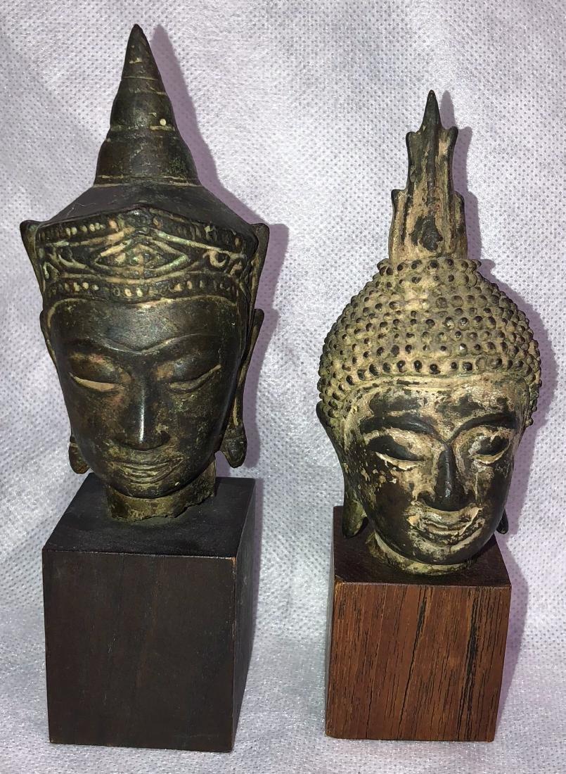 Pair Of Antique Thai Bronze Buddha Heads
