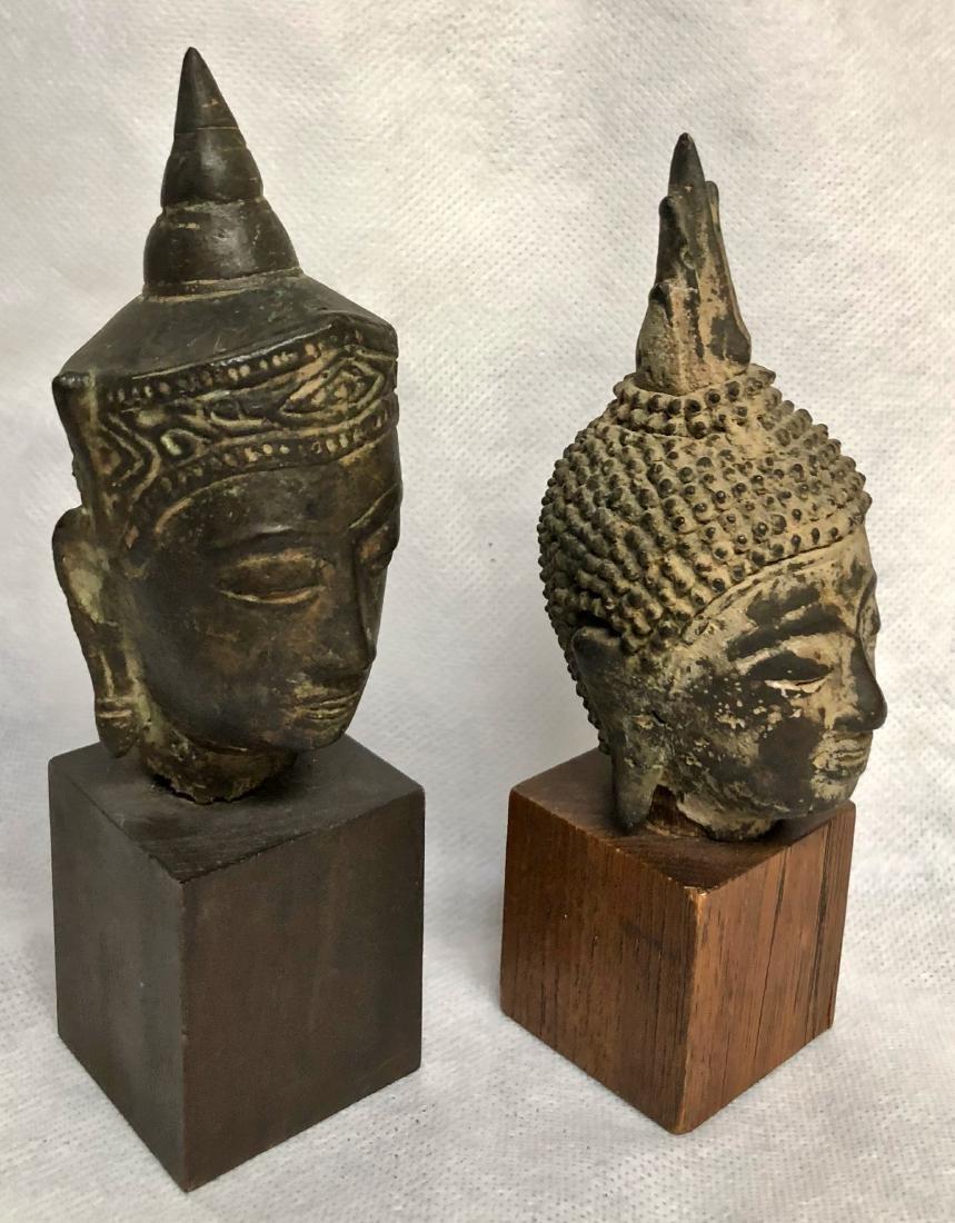 Pair Of Antique Thai Bronze Buddha Heads - 2